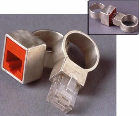 anillo de boda friki conector RJ42 para cable de red