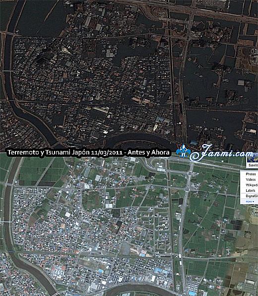 Imágenes de Satélite del terremoto de Japón en Google Maps