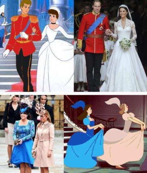 Guillermo de Inglaterra y Kate Middlenton - parecidos con Disney
