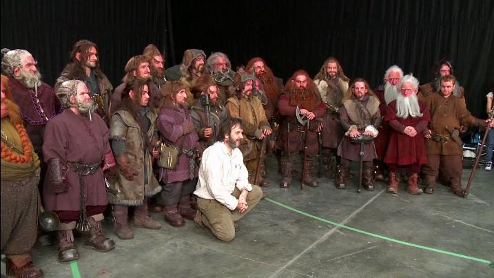 rodaje - actores de el Hobbit y extras