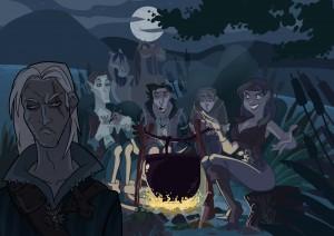 Geralt, Regis, Milva, Jaskier y Cahir.