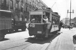 Tranvía en la Barcelona de la postguerra
