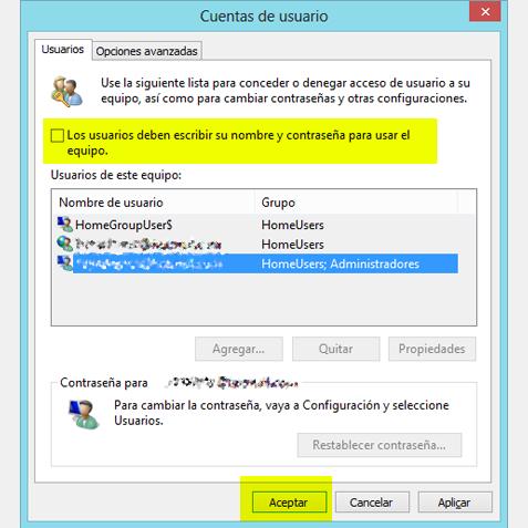 Cuentas de usuario de Windows 8 sin contraseña