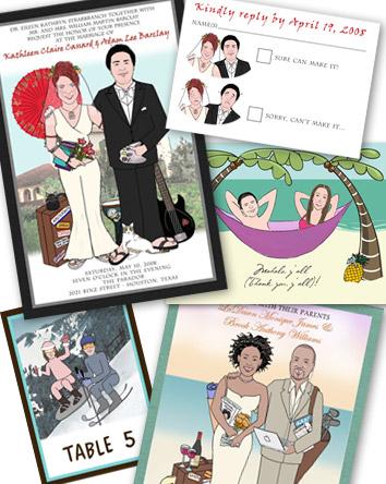 invitacion de boda dibujada
