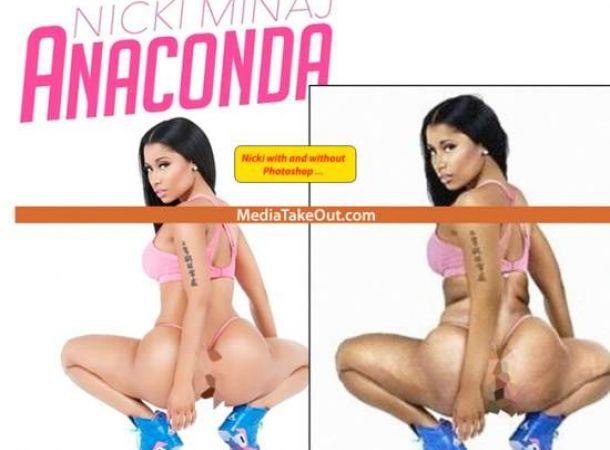 Portada de Nicki Minaj con y sin Photoshop