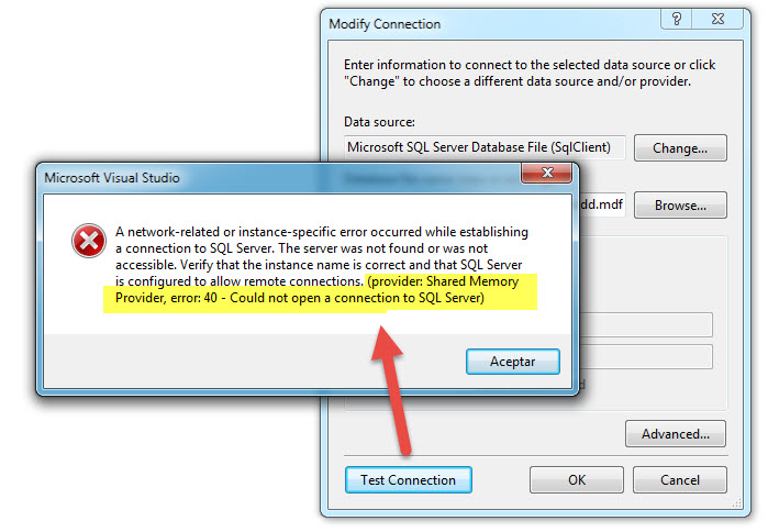 provider Named Pipes Provider error 40 - Could not open a connection to SQL Server