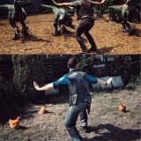 Jurassic World: imitaciones de la pose de los velociraptores