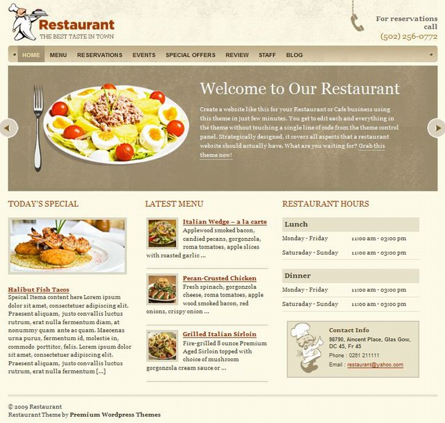 wordpress restaurant theme